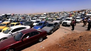 Hundreds of cars carrying Mosul residents caused a giant traffic jam outside the nearby city of Irbil--AFP