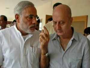 Narendra Modi (left) and Anupam Kher (right).
