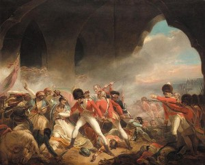 A painting of one of many battles between Tipu's army and the British.